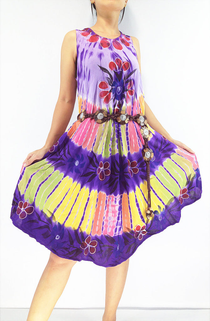 FLD51 Maxi Gypsy Rayon Dress Hippie Boho Hobo Beach Dress Tie Dye Violet, NaughtyGirl, HaremPantsThai