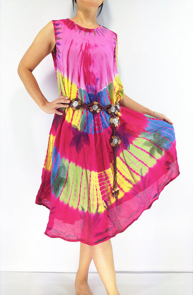 FLD53 Maxi Gypsy Rayon Dress Hippie Boho Hobo Beach Dress Tie Dye Pink, NaughtyGirl, HaremPantsThai