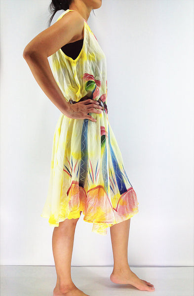 FLD64 Maxi Gypsy Rayon Dress Hippie Boho Hobo Beach Dress Tie Dye Yellow, NaughtyGirl, HaremPantsThai