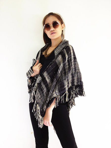 JBY2 Fashion Women Accessories Clothing Organic Hand Woven Cotton Wrap Top Jacket Shoulder Wrap Cotton Shawl Sweater Wrap Poncho Black, Scarves & Shawls, NaughtyGirl, HaremPantsThai