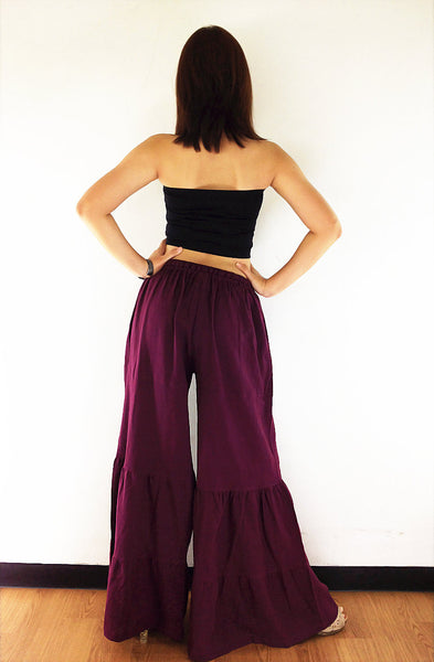 PT189 Natural Cotton Trousers Wide Leg Maroon Brown, NaughtyGirl, HaremPantsThai