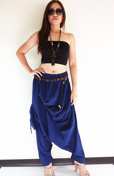PT426 Natural Handmade Harem Pants Cotton Dark Blue