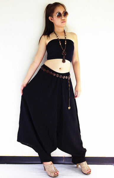 PTH287 Handmade Harem Pants Cotton Boho Pants Black