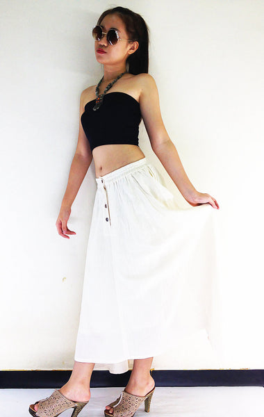 ST03 Women Clothing Organic Cotton Skirts Long Skirts Comfy Skirts Luxury Pleated Skirts Unique Skirts Maxi Skirt Gypsy Skirt Cream
