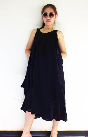 DS561 Thai Women Clothing Natural Cotton Maxi Dress Luxury Black, Dresses, NaughtyGirl, HaremPantsThai