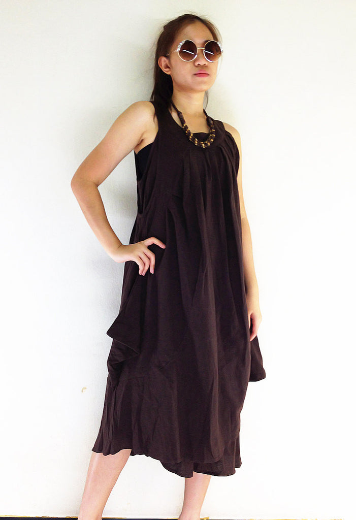 DS561 Thai Women Clothing Natural Cotton Maxi Dress Luxury Brown, Dresses, NaughtyGirl, HaremPantsThai