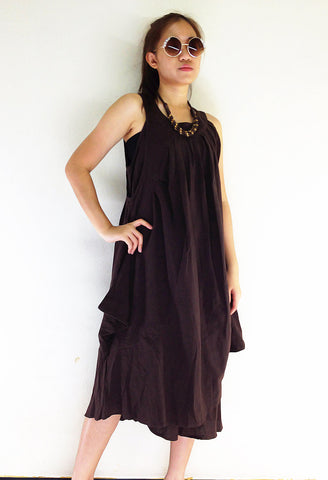 DS561 Natural Cotton Maxi Dress Luxury Brown, NaughtyGirl, HaremPantsThai