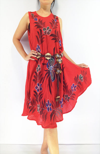 FLD56 Maxi Gypsy Rayon Dress Hippie Boho Hobo Beach Dress Tie Dye Red, NaughtyGirl, HaremPantsThai