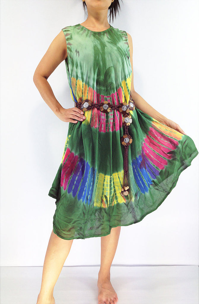 FLD65 Maxi Gypsy Rayon Dress Hippie Boho Hobo Beach Dress Tie Dye Green, NaughtyGirl, HaremPantsThai