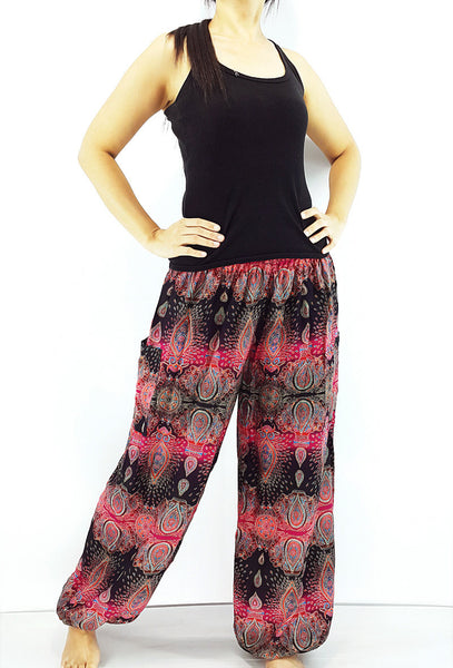 ST82 Thai Women Clothing Comfy Rayon Bohemian Trousers Hippie Baggy Genie Boho Pants Flower Black Pink
