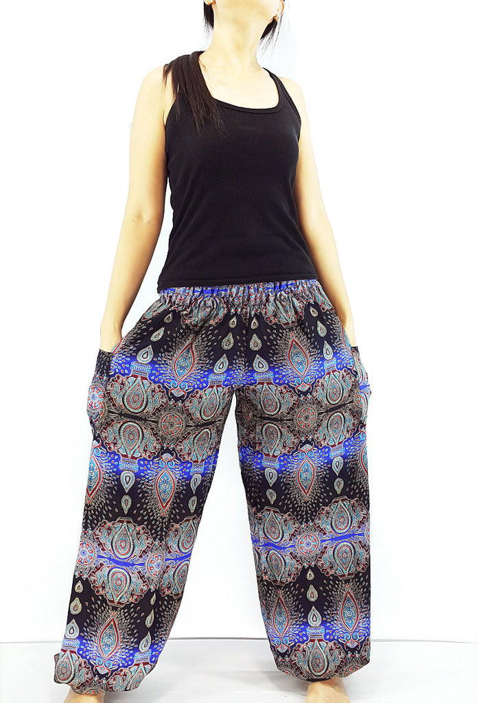ST81 Thai Women Clothing Comfy Rayon Bohemian Trousers Hippie Baggy Genie Boho Pants Flower Black Blue