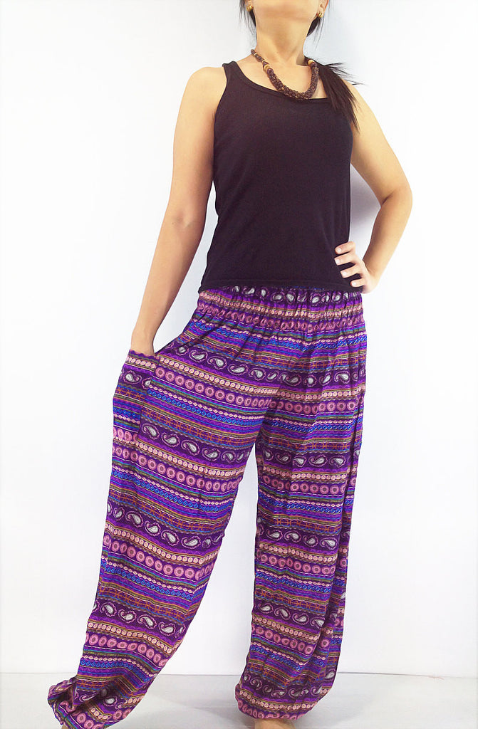 ST51 Thai Women Clothing Comfy Rayon Bohemian Trousers Hippie Baggy Genie Boho Pants Colorful Purple