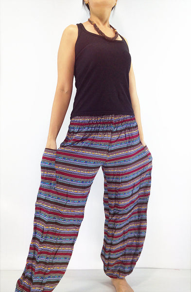 ST48 Thai Women Clothing Comfy Rayon Bohemian Trousers Hippie Baggy Genie Boho Pants Colorful