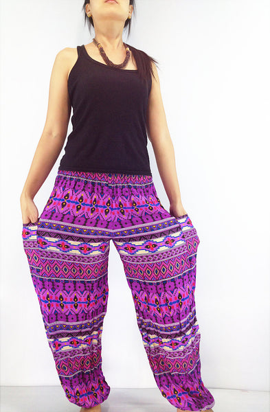 ST62 Thai Women Clothing Comfy Rayon Bohemian Trousers Hippie Baggy Genie Boho Pants Colorful Purple