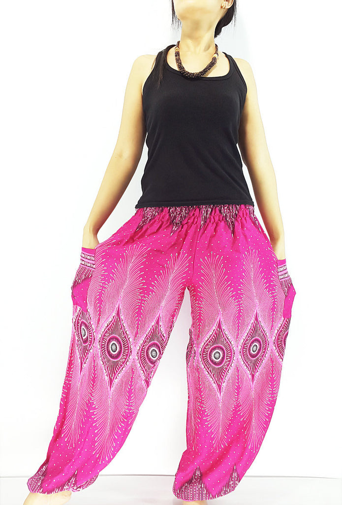 ST73 Thai Women Clothing Comfy Rayon Bohemian Trousers Hippie Baggy Genie Boho Pants Pink