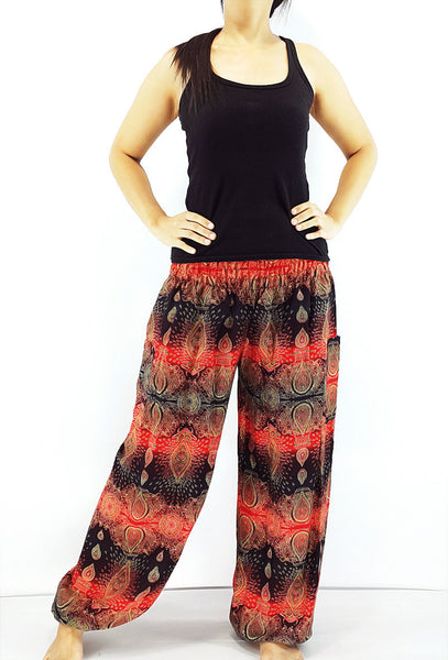 ST79 Thai Women Clothing Comfy Rayon Bohemian Trousers Hippie Baggy Genie Boho Pants Flower Black Red