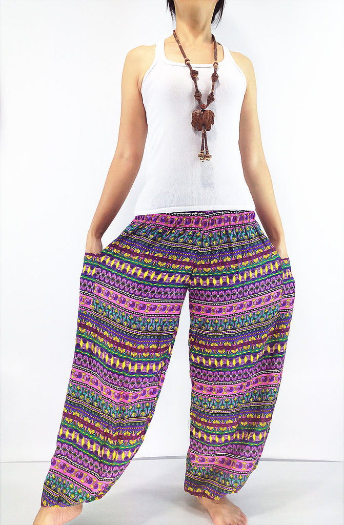 ST28 Thai Women Clothing Comfy Rayon Bohemian Trousers Hippie Baggy Genie Boho Pants Colorful