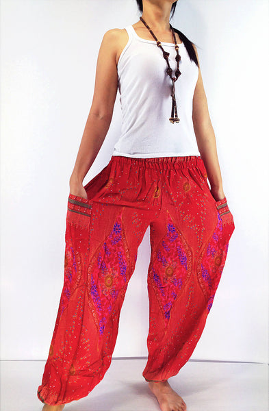 ST32 Thai Women Clothing Comfy Rayon Bohemian Trousers Hippie Baggy Genie Boho Pants Red