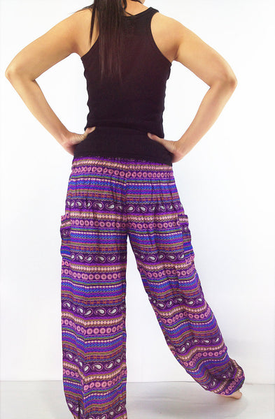 ST51 Rayon Bohemian Trousers Hippie Boho Pants Colorful Purple, NaughtyGirl, HaremPantsThai
