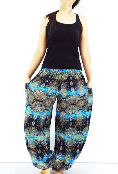 ST80 Thai Women Clothing Comfy Rayon Bohemian Trousers Hippie Baggy Genie Boho Pants Flower Black SkyBlue