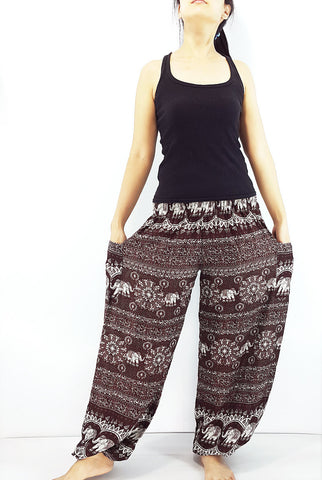 ST99 Thai Women Clothing Comfy Rayon Bohemian Trousers Hippie Baggy Genie Boho Pants Elephant Brown
