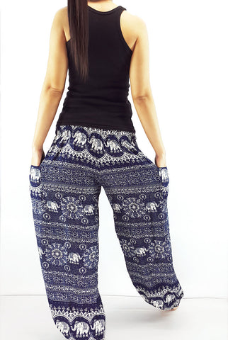 ST98 Thai Women Clothing Comfy Rayon Bohemian Trousers Hippie Baggy Genie Boho Pants Elephant Navy Blue