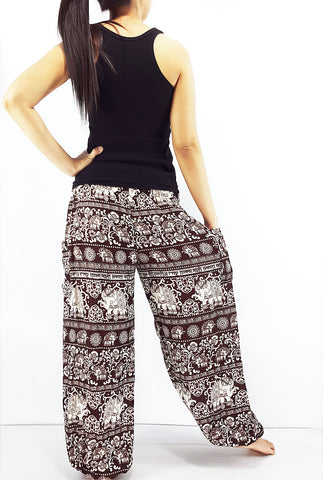 ST96 Thai Women Clothing Comfy Rayon Bohemian Trousers Hippie Baggy Genie Boho Pants Elephant Brown