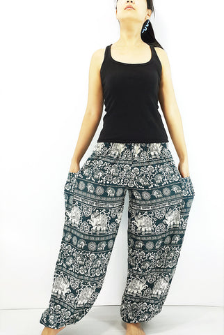 ST90 Thai Women Clothing Comfy Rayon Bohemian Trousers Hippie Baggy Genie Boho Pants Elephant Dark Green