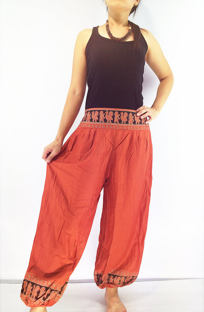 PRT25 Thai Women Clothing Comfy Rayon Bohemian Trousers Hippie Baggy Genie Boho Pants Burnt Orange, Pants, NaughtyGirl, HaremPantsThai