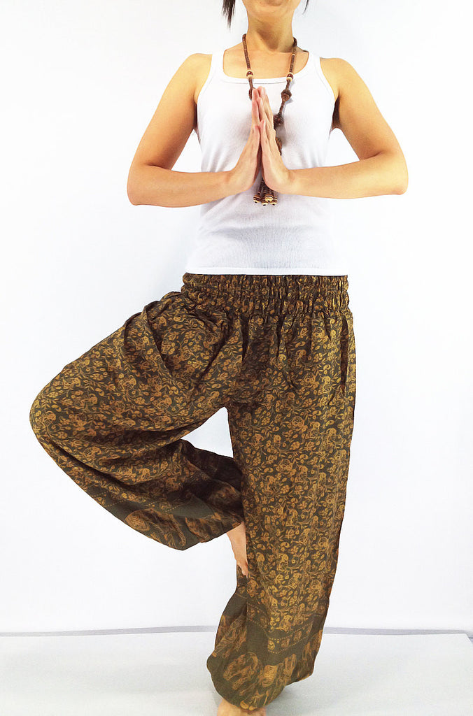 PRT7 Thai Women Clothing Comfy Rayon Bohemian Trousers Hippie Baggy Genie Boho Pants Elephant Pant Olive Green