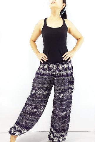 ST91 Thai Women Clothing Comfy Rayon Bohemian Trousers Hippie Baggy Genie Boho Pants Elephant Violet