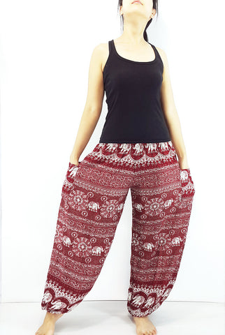 ST95 Thai Women Clothing Comfy Rayon Bohemian Trousers Hippie Baggy Genie Boho Pants Elephant Dark Red