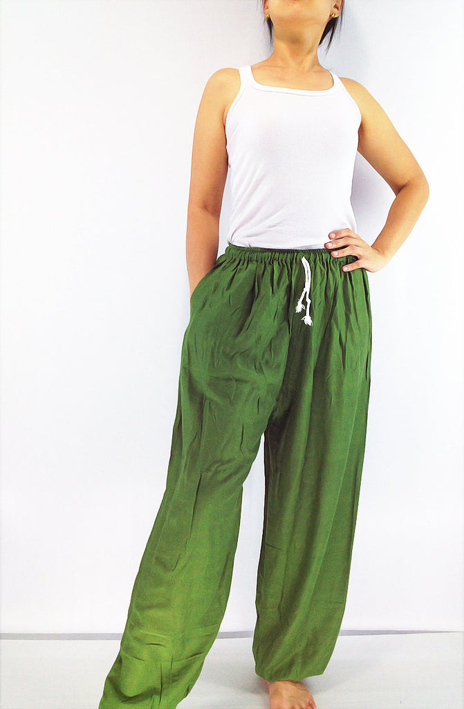 PRT11 Thai Women Clothing Comfy Rayon Bohemian Trousers Hippie Baggy Genie Boho Pants Grass Green, Pants, NaughtyGirl, HaremPantsThai