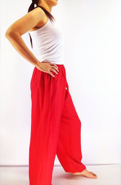 PRT14 Thai Women Clothing Comfy Rayon Bohemian Trousers Hippie Baggy Genie Boho Pants Hot Red, Pants, NaughtyGirl, HaremPantsThai