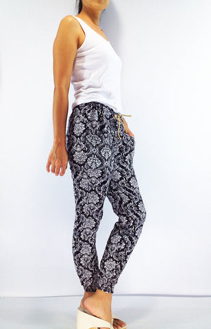 FT102 Thai Women Clothing Comfy Rayon Bohemian Trousers Hippie Baggy Genie Boho Pants Printed Pant White Black, Pants, NaughtyGirl, HaremPantsThai