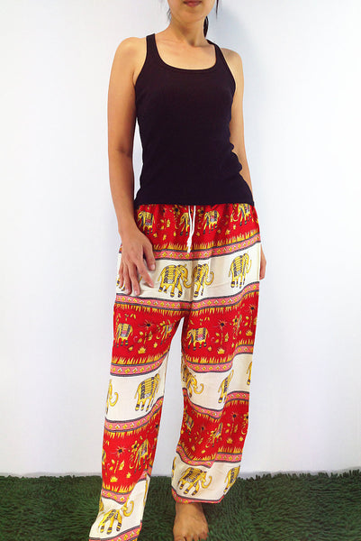 FT51 Thai Women Clothing Comfy Rayon Bohemian Trousers Hippie Baggy Genie Boho Pants Elephant Pants Red White, Pants, NaughtyGirl, HaremPantsThai
