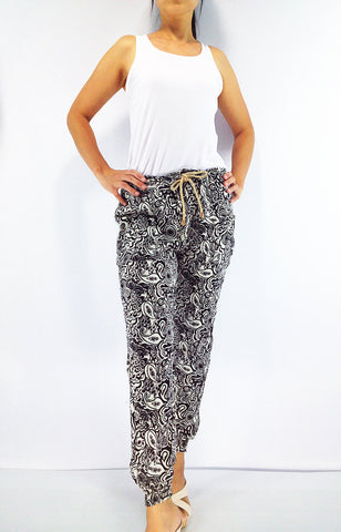 FT95 Thai Women Clothing Comfy Rayon Bohemian Trousers Hippie Baggy Genie Boho Pants White Black, Pants, NaughtyGirl, HaremPantsThai