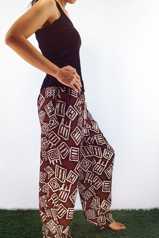 FT57 Thai Women Clothing Comfy Rayon Bohemian Trousers Hippie Baggy Genie Boho Pants Brown, Pants, NaughtyGirl, HaremPantsThai
