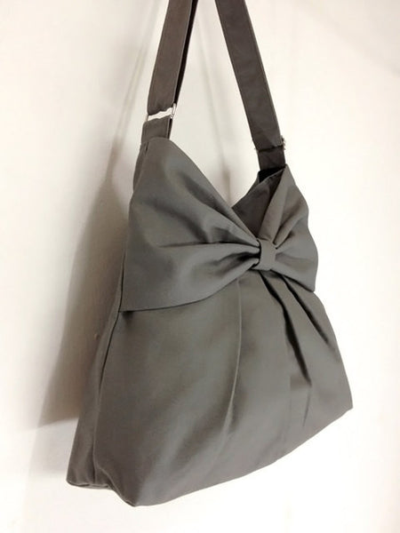 Canvas Bag Shoulder bag Hobo bag Tote bag Bow Gray Tanya, VeradaShop, HaremPantsThai