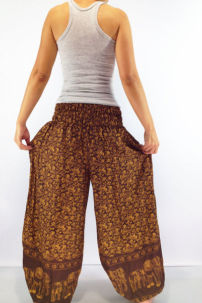PRT3 Thai Women Clothing Comfy Rayon Bohemian Trousers Hippie Baggy Genie Boho Pants Elephant Pants Brown, Pants, NaughtyGirl, HaremPantsThai