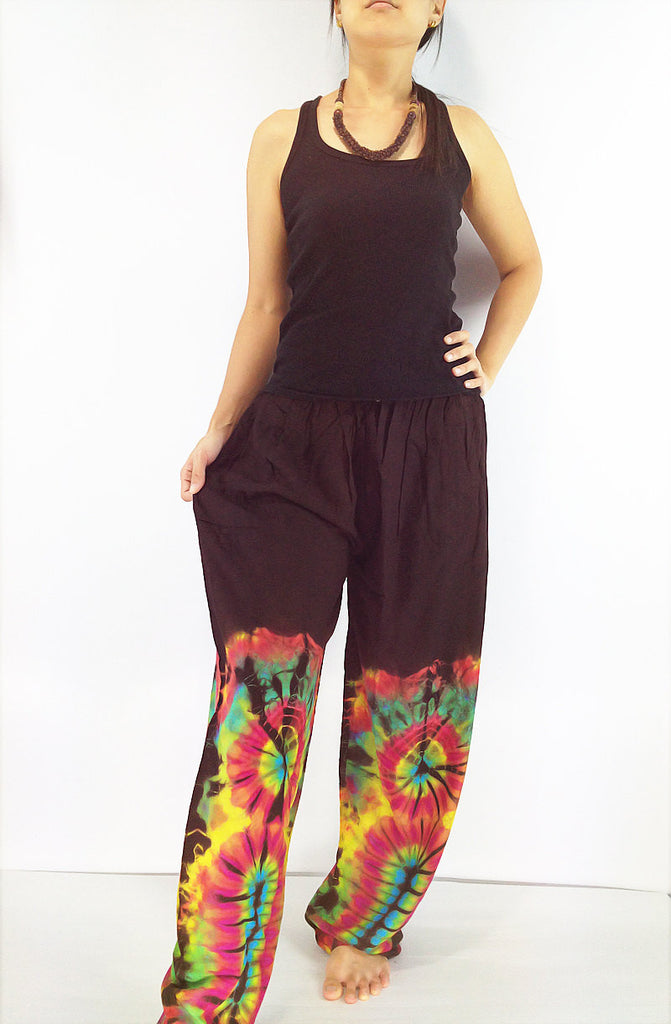 PTT1-33 Women Yoga Pants Maxi Pants Gypsy Pants Rayon Tie Dye Pants Long Pants Hippy Pants Boho Pants Tie Dye Brown