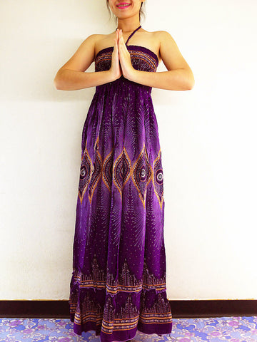 Thai Women Clothing Rayon Maxi Dress Hobo Hippie Boho Bohemain Hippie Gypsy Style Printed Purple Violet (DL13)