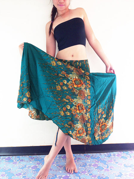 Thai Thai Women Clothing Natural Cotton Convertible Dresses Skirts Green Teal (DS35)