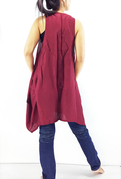 PRB10 Women Rayon Blouses Wraps Cloaks Tanks Tops Colorful Maroon, Pants, NaughtyGirl, HaremPantsThai