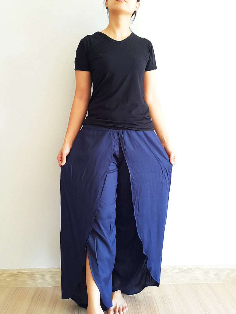 SO17 Women Pants Maxi Trouser Rayon Trouser Comfy Trouser Open Leg Wide Leg Plain Color Solid Color Navy Blue