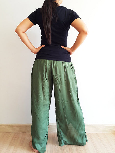 SO15 Pants Maxi Trouser Rayon Open Leg Wide Leg Plain Color Solid Color Olive Green, NaughtyGirl, HaremPantsThai