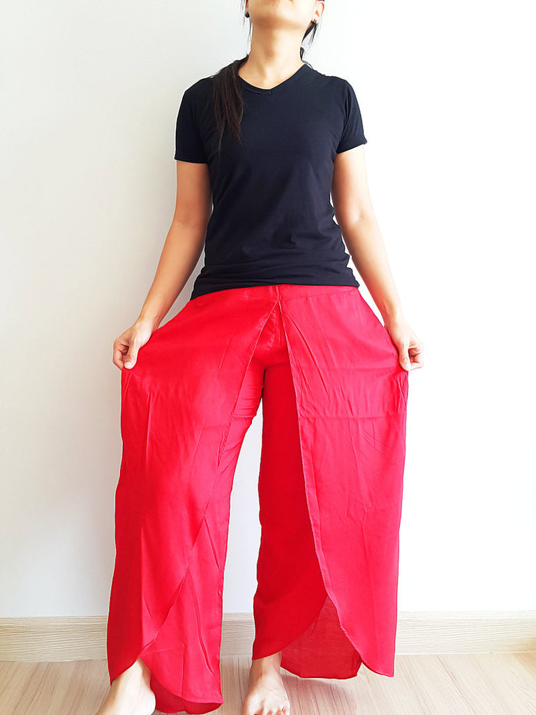 SO9 Women Pants Maxi Trouser Rayon Trouser Comfy Trouser Open Leg Wide Leg Plain Color Solid Color Red