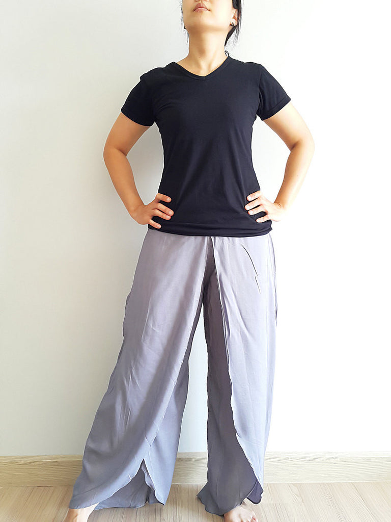 SO14 Women Pants Maxi Trouser Rayon Trouser Comfy Trouser Open Leg Wide Leg Plain Color Solid Color Gray
