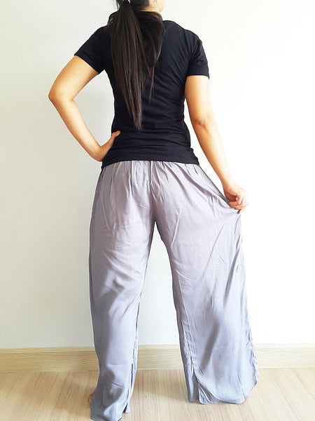 SO14 Pants Maxi Trouser Rayon Open Leg Wide Leg Plain Color Solid Color Gray, NaughtyGirl, HaremPantsThai