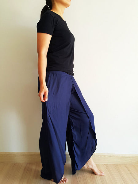 SO17 Pants Maxi Trouser Rayon Open Leg Wide Leg Plain Color Solid Color Navy Blue, NaughtyGirl, HaremPantsThai